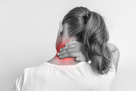 Woman with muscle injury having pain in