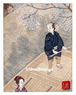 「Sakura&Sendo 桜と船頭」  shinya uno illustration
