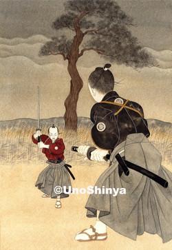 「残夜一本松決闘」  shinya uno illustration