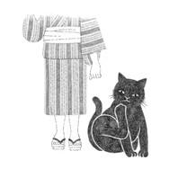 小犬なみに図体の大きい黒猫.