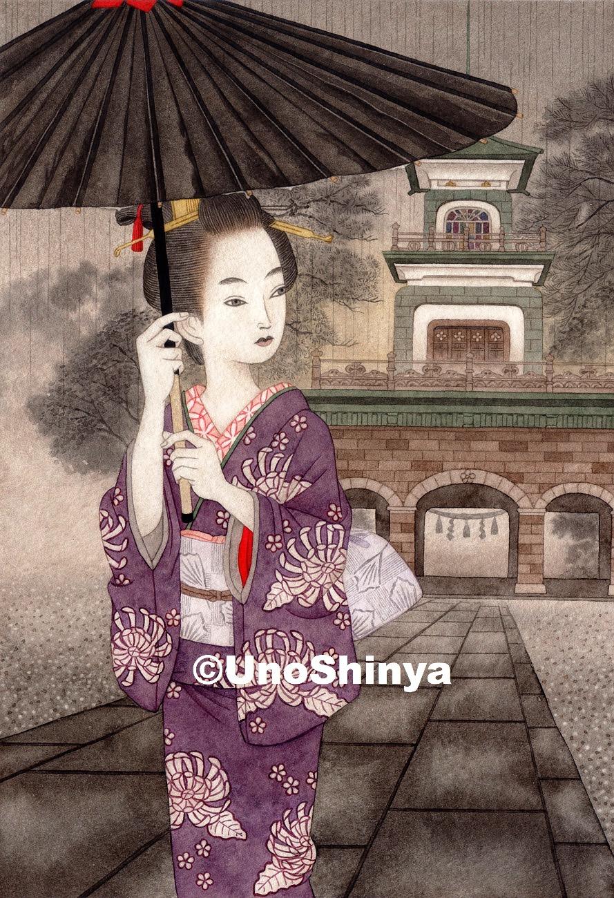 「雨景色尾山神社神門」| shinya uno illustration