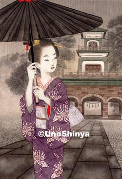 「雨景色尾山神社神門」  shinya uno illustration