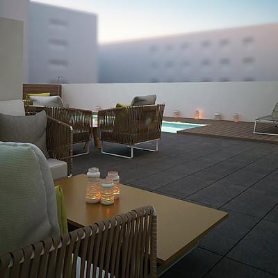 Infografias 3d terraza hotel