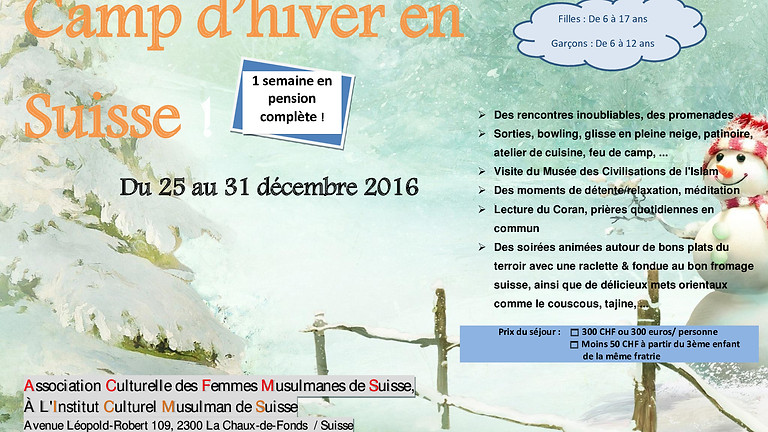 CAMP D'HIVER POUR JEUNES DEL'ACFMS
