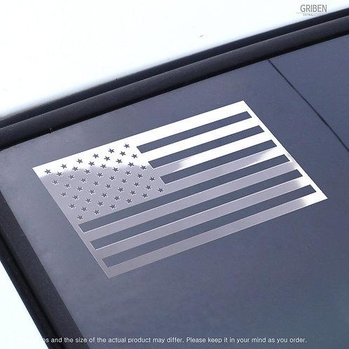 "Griben USA Flag Metal Sticker Gloss Mirror Chrome Decal 3.93"" Pair"