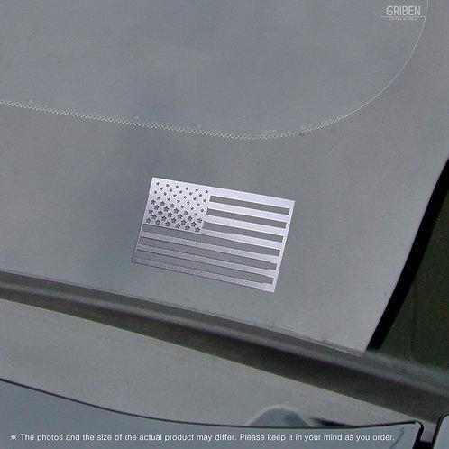 "Griben USA Flag Matte Metal Sticker Gloss Mirror Chrome Small Decal 1.96"" Pair"