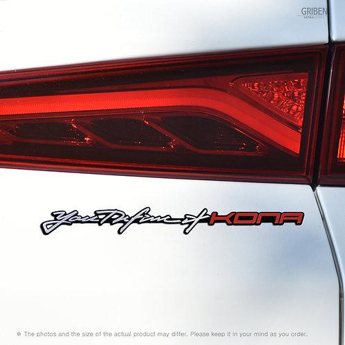 Griben Car Slogan Emblem Sliver Slim Badge 30337 for Hyundai Kona