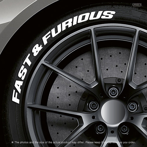 GRIBEN Tire Lettering Sticker FAST & FURIOUS TR001