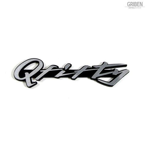 Griben Q Fifty Car Metal Matte Chrome Emblem Pair Badge 70218 for Infiniti Q50