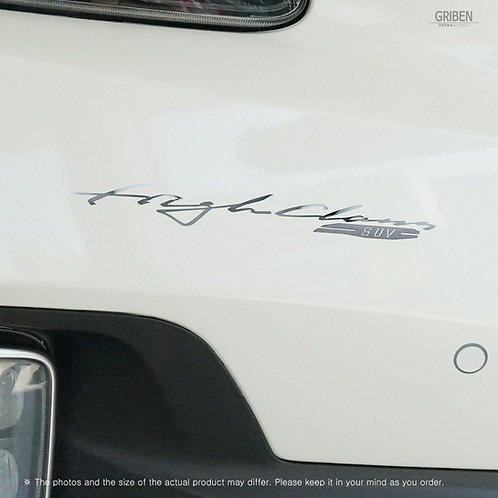 Griben 60362 Car Slogan Chrome Metal Sticker Pair Handwriting for Seltos