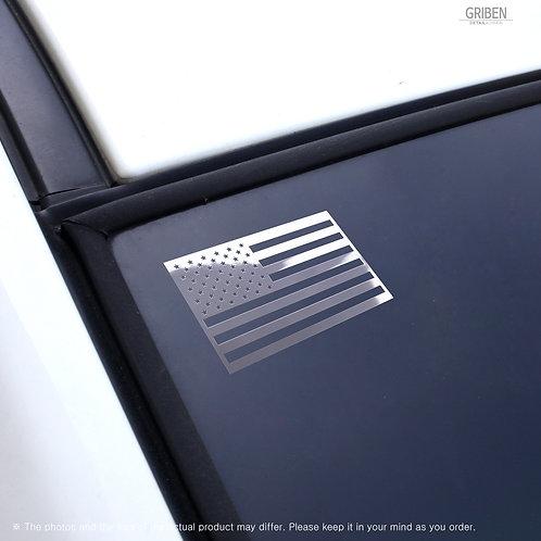 "Griben USA Flag Metal Sticker Gloss Mirror Chrome Small Decal 1.96"" Pair"