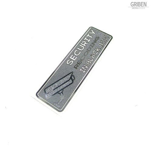 Griben Security Metal Stickers Matte Silver Dash Cam Warning Decals 60242