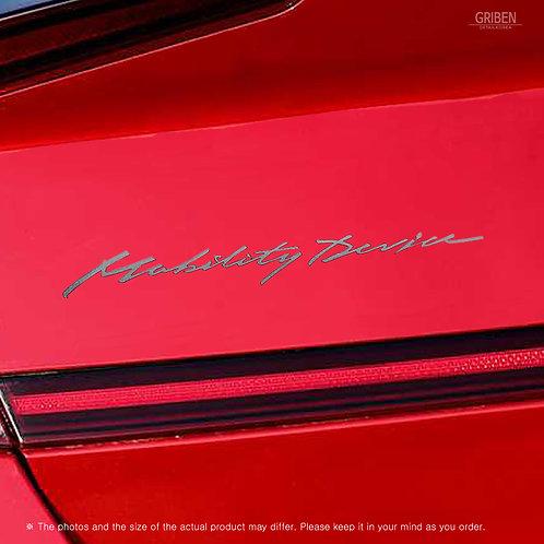 Griben Car Slogan Matte Chrome Metal Sticker Pair 60354 Handwriting Lettering