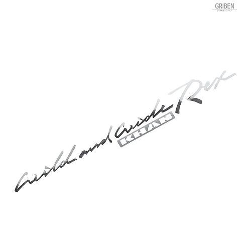 Griben Car Slogan Chrome Metal Sticker Pair 60346 Handwriting Lettering
