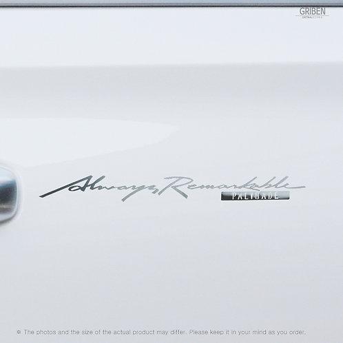 Griben Car Slogan Matte Chrome Metal Sticker Pair 60342 Handwriting Lettering