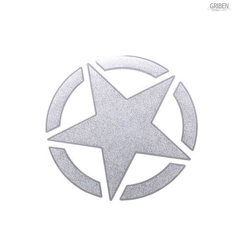 Griben Star Metal Matte Chrome Pair Sticker Decal 60194S for All Cars