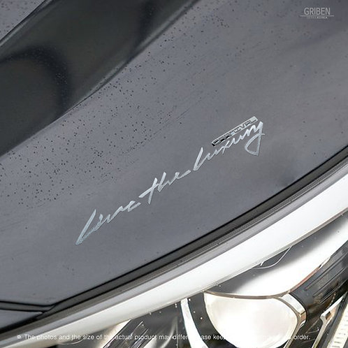 Griben Car Slogan Matte Chrome Metal Sticker Pair 60331 Handwriting Lettering