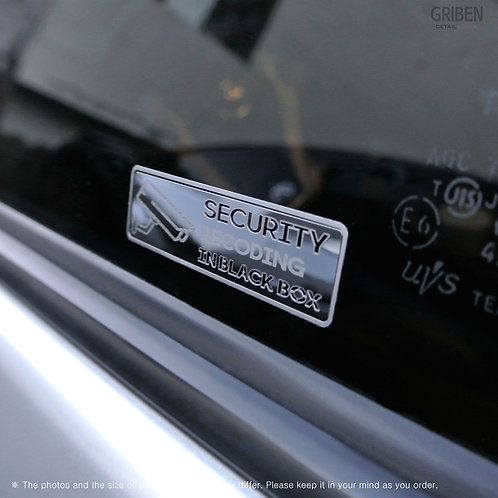 Griben Security Metal Stickers Chrome Silver Dash Cam Warning Decals 60245