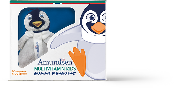 Gummy penguins multivitamins box by Amundsen
