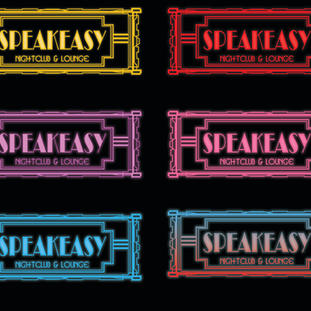 Speakeasy logo type treatments