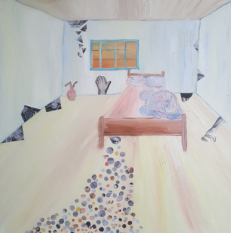 'in bed', oil paint-collage, 100 cm x 10