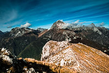 The view from mount Prana while trekking in the Apuan Alps of  Tuscany