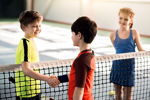 Cheerful boys shaking hands before playi