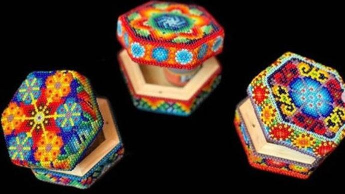 Aleya Huichol - Caja Hexagonal Chica