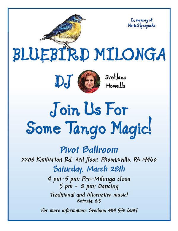 Bluebird Milonga, March 28th 2020, Svetlana Howells, Pivot Ballroom, Argentine Tango, Adult Dance Class