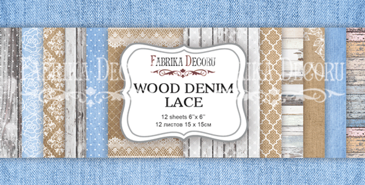 "Wood denim lace 6""x6"" paper pad"