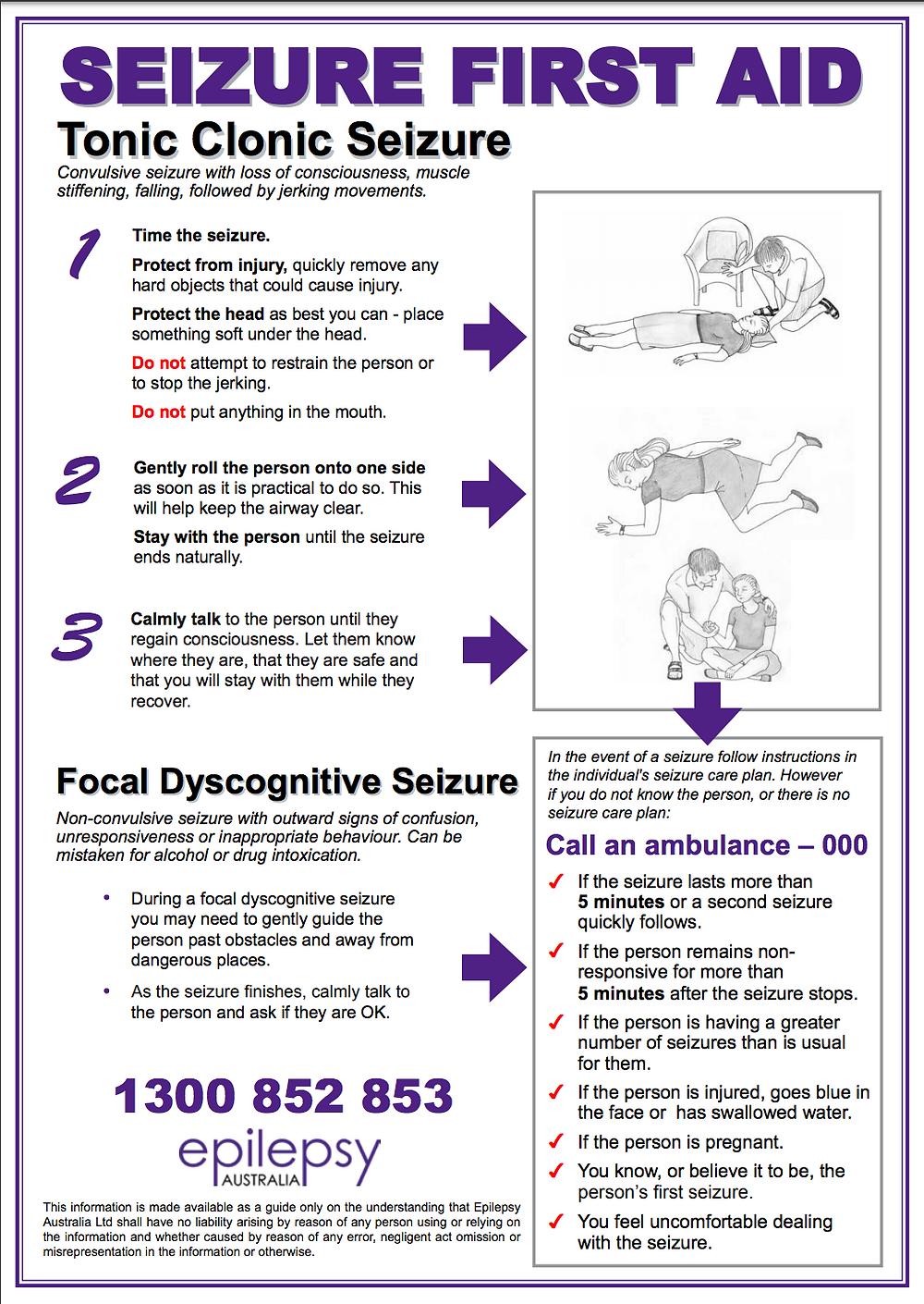 Epilepsy Seizure First Aid Information Sheet