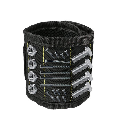Magnetic Wristband 3 Rows Strong Magnets Adjustable Magnetic Wrist Band for Hold
