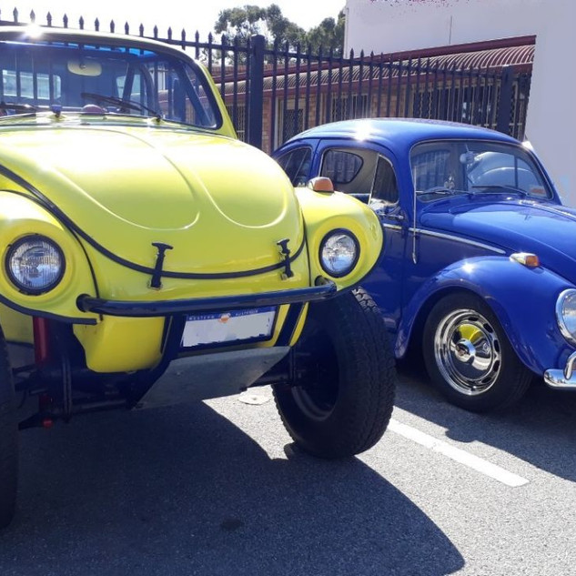 big yellow Baja Bug