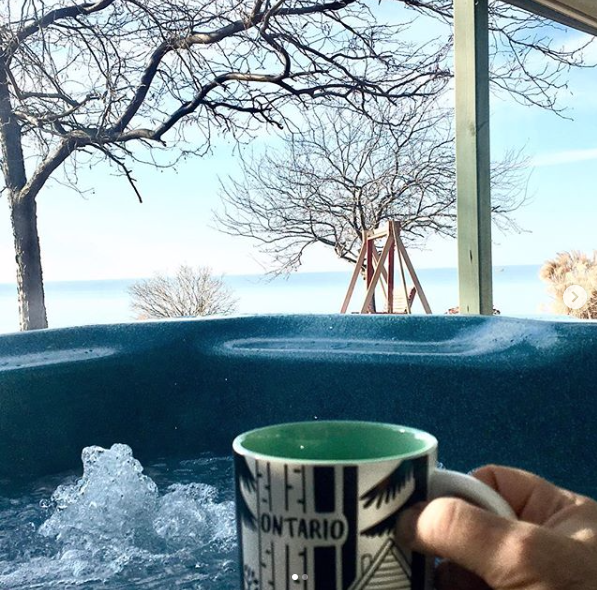 Morning Coffee in the Hot Tub