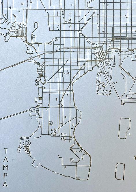 Tampa Letterpress Map - Sky/Gold