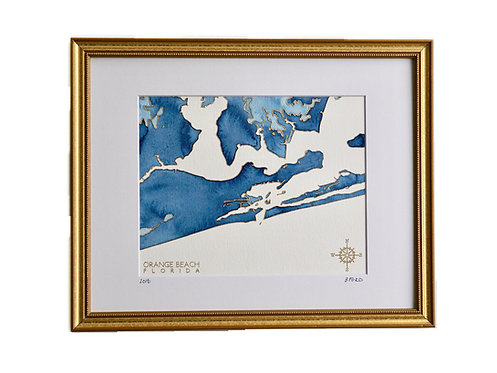 Orange Beach, Florida Topographic Watercolor