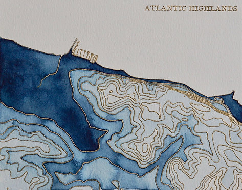 Atlantic Highlands Watercolor Map