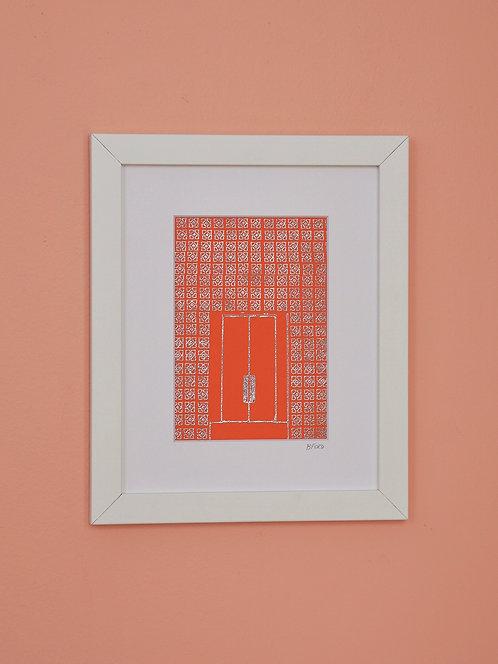 Parker Hotel Door - Orange & Silver