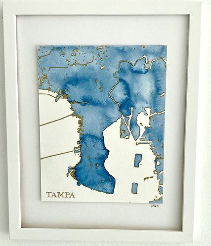 Tampa Watercolor Map 16x20