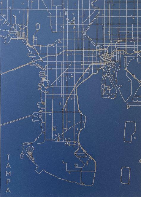 Tampa Letterpress Map - Navy/Gold