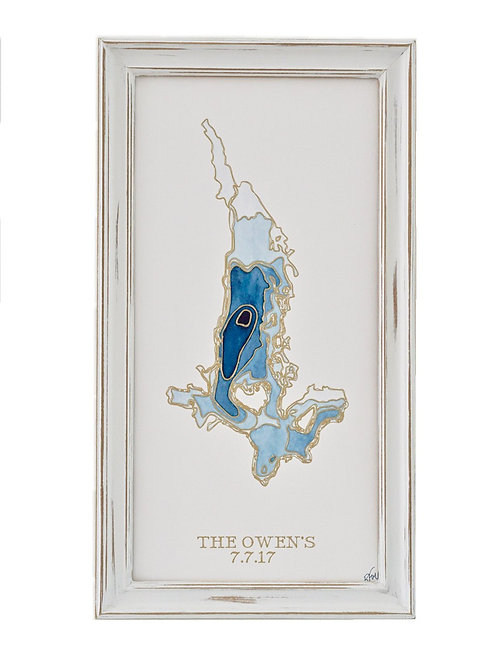 Custom Lake Topographic Watercolor