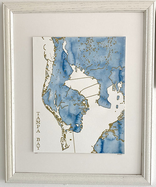 Tampa Bay Watercolor Map 8x10