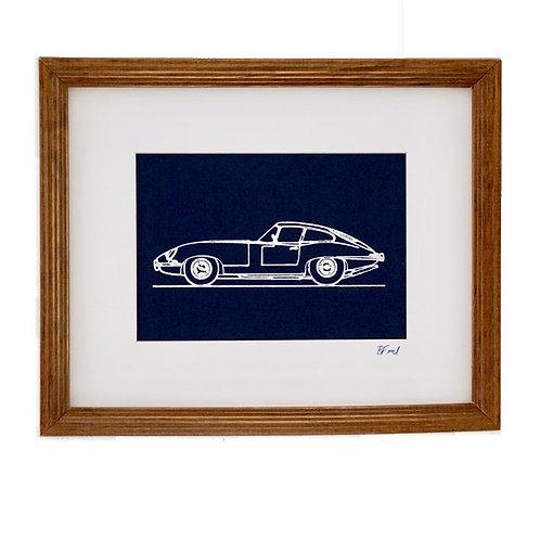 Car Portrait - Navy/White