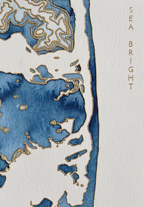 Sea Bright Watercolor Map