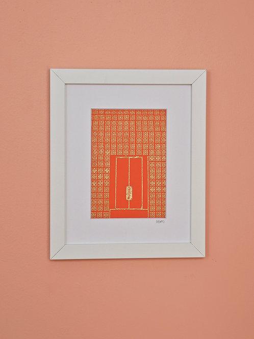 Parker Hotel Door - Orange & Gold