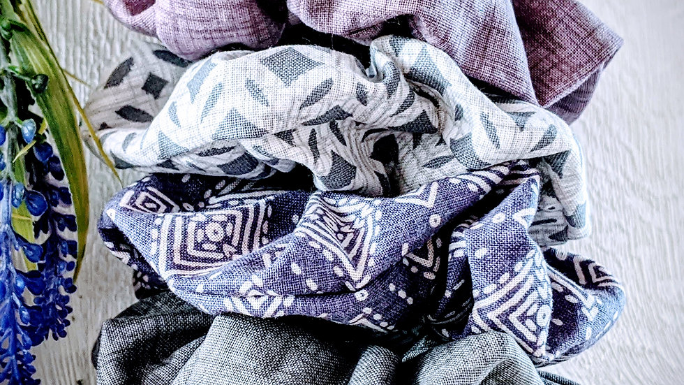 Set of 4 handmade purple & grey coloured patterned cotton hair scrunchies.