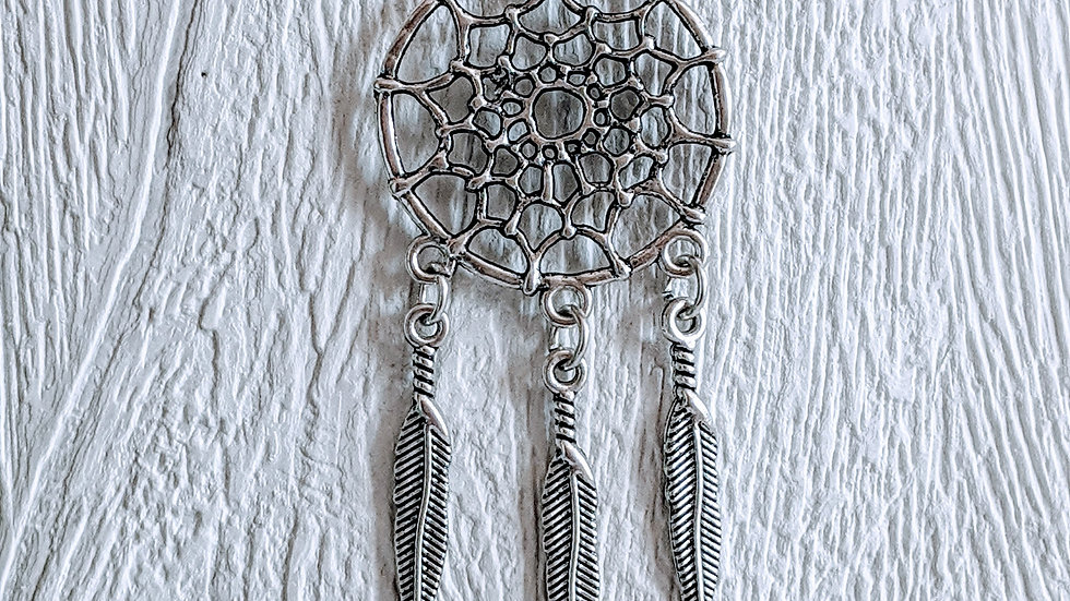 Stainless steel necklace with Tibetan style silver dreamcatcher pendant
