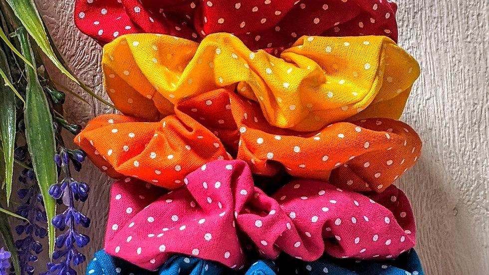 Set of 5 handmade rainbow spotty hair scrunchies.