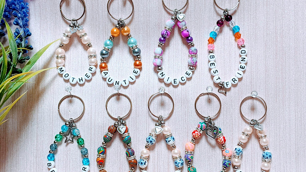 Gorgeous personalised keychains with choice of charms.