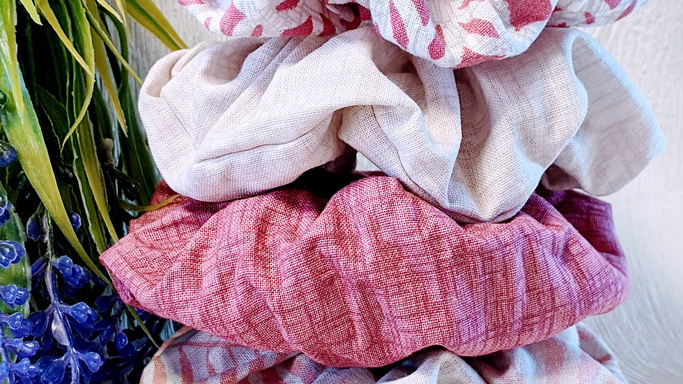 Set of 4 handmade pink & cream patterned cotton hair scrunchies.